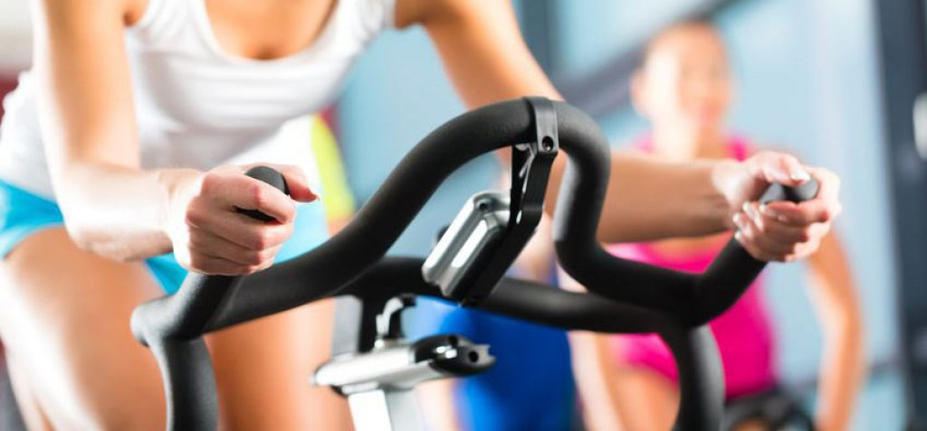 Woman on a spin bike